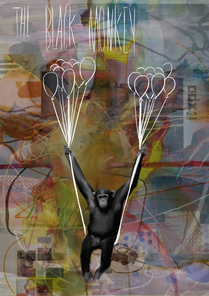 The black monkey, Dacos Christophe, Peinture, Dessin, impressions, collage, Marche-En-Famenne, dacos, christophe, peinture, beaux-arts, liège, marche-en-famenne, artiste, expo, peintre, ipad, numérique, arts, belge, toile, huile, acrylique,